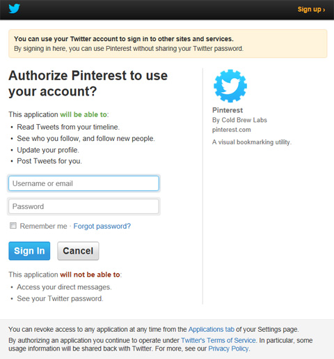 Pinterest Twitter Authorization